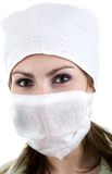 Nurse in cap. A nurse in a white cap and white band Stock Image