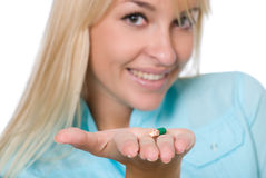 The nurse with a capsule on a palm Stock Photo