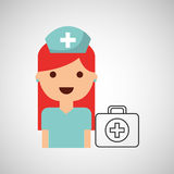 Nurse cartoon kit first aid design. Illustration Stock Images