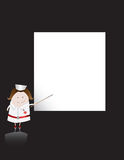 Nurse character and blank sheet. A classic nurse character points at a blank board royalty free illustration