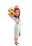 Nurse Character with dollar sign Stock Photography