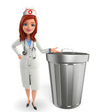Nurse Character with  dustbin Stock Photo