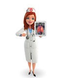 Nurse Character with lungs anatomy Royalty Free Stock Images