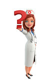 Nurse Character with question mark Royalty Free Stock Photos