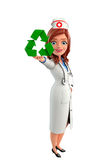Nurse Character with  recycle icon Royalty Free Stock Photography