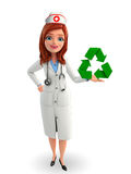 Nurse Character with  recycle sign Stock Photo