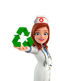 Nurse Character with  recycle sign Royalty Free Stock Photos