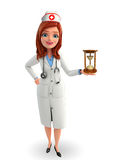 Nurse Character with  sand clock Royalty Free Stock Images