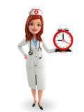 Nurse Character with table clock Royalty Free Stock Photography