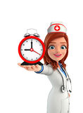 Nurse Character with table clock Stock Images