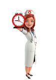 Nurse Character with table clock Royalty Free Stock Images