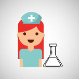 Nurse character test tube science chemical esign Royalty Free Stock Image