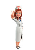 Nurse Character with Victory sign Stock Photo