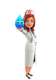 Nurse Character with water drop Royalty Free Stock Photos