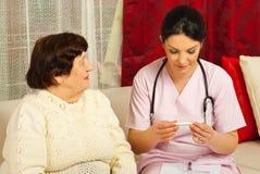 Nurse checking temperature to senior Royalty Free Stock Image