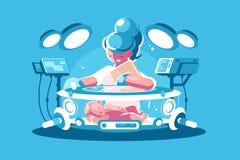 Nurse child incubator with baby Royalty Free Stock Image