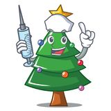 Nurse Christmas tree character cartoon. Vector illustration Royalty Free Stock Image
