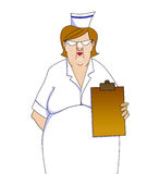 Nurse With Clipboard cartoon isolated on white Stock Photo