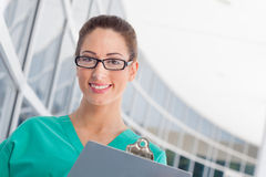 Nurse with clipboard Stock Photo