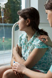 Nurse comforting a worried patient Royalty Free Stock Photo