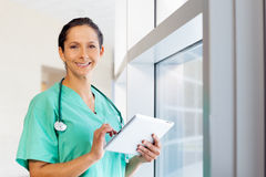 Nurse with computer tablet Royalty Free Stock Image