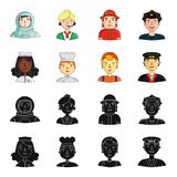 A nurse , a cook , a builder , a taxi driver . People of different professions set collection icons in black,cartoon. Style vector symbol stock illustration Stock Images