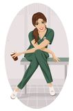 Nurse with a cup of coffee. Stock Image