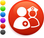 Nurse and dcotr icon on round internet button Stock Image