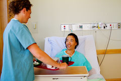 Nurse delivering meal to patient Royalty Free Stock Photography