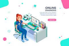 Nurse Diagnosis Consult Web Page Template. Concept with characters, treatment and exam patient, specialist cartoon. Examination, diagnosis, nurse work, physician stock illustration