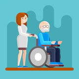 Nurse with disabled old man in a wheelchair. Caring for seniors, helping moving around and spending time together. Nurse on a walk with disabled old man in a vector illustration