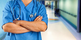 Nurse or doctor with blue jacket in the hospital ward. Stock Image