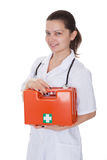 Nurse or doctor with a first aid kit Stock Image