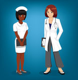 Nurse and Doctor Full Cartoon Vector Illustration Stock Images