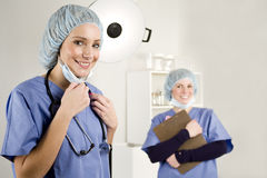 Nurse and doctor in hospital Royalty Free Stock Photos