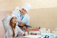 Nurse and doctor in laboratory Royalty Free Stock Photography
