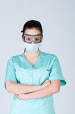Nurse or doctor in pilot glasses with mask Stock Photography