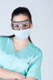 Nurse or doctor in pilot glasses with mask Stock Photos