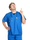 Nurse / doctor pointing up stock image