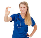 Nurse / doctor showing blank board sign Stock Photo
