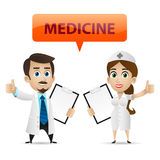 Nurse and doctor showing thumb up royalty free illustration