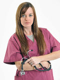Nurse or doctor - woman - with stethoscope Stock Image