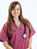 Nurse or doctor - woman - with stethoscope on neck Royalty Free Stock Photography