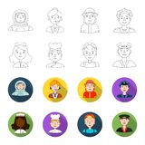 A nurse in a dressing gown, cook , builder , taxi driver . People of different professions set collection icons in. A nurse in a dressing gown, a cook , a Royalty Free Stock Photography