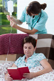 Nurse and drip-bag Royalty Free Stock Images