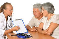 Nurse with elderly patients Stock Photo
