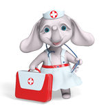 Nurse elephant holding first aid kit character 3d rendering. Nurse elephant holding first aid kit character isolated 3d rendering Stock Image