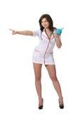 Nurse with enema point left Stock Photo
