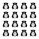 Nurse face emoticon icons set stock illustration