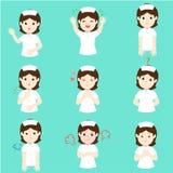 Nurse with different emotions cartoon vector. vector illustration
